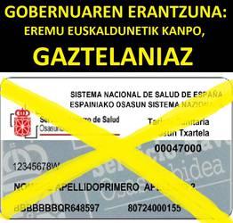 Nafarroako Gobernuaren erantzuna: Eremu euskaldunetik kanpo, Osasun Txartela gaztelaniaz.