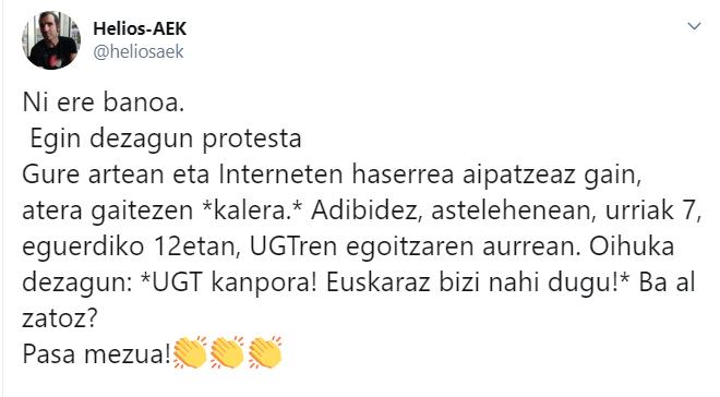 Eguerdian UGTren egoitzaren aitzinean protesta egitera deitzen ari dira sare sozialetan
