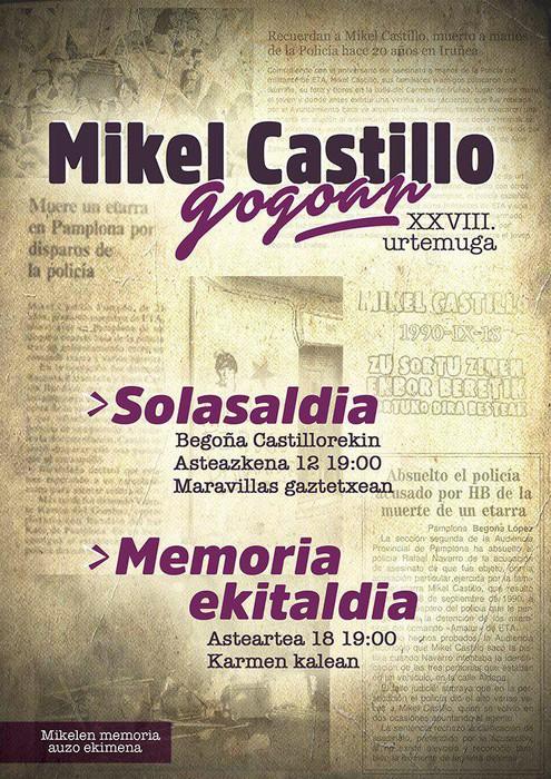 """Mikel Castilloren omenaldien """"irakurketa interesatua"""" egin dela salatu du Mikelen Memoria taldeak"""