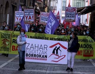 """Egoitzetako """"hitzarmen duin baten"""" aldeko manifestazioa egin dute"""