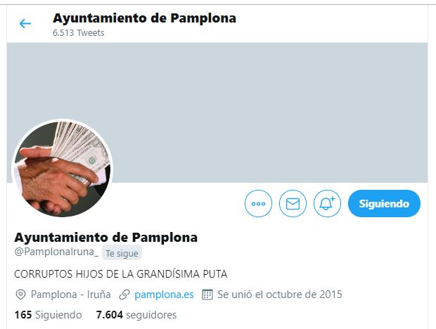 Iruñeko Udaleko Twitter kontua hackeatu dute