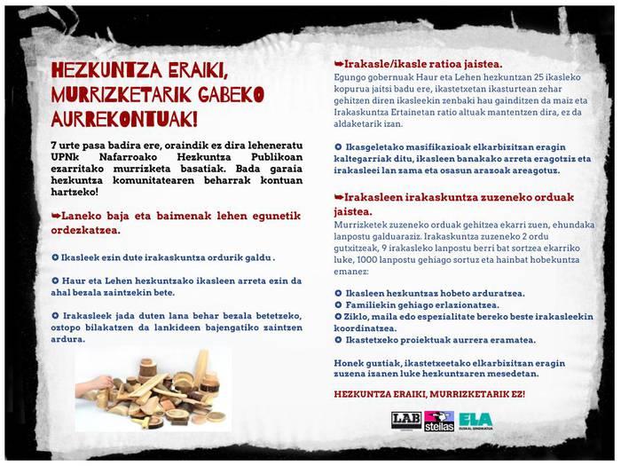 Murrizketarik gabeko Hezkuntza Burujabetzaren alde! Nafarroako sindikalgintzarekin bat