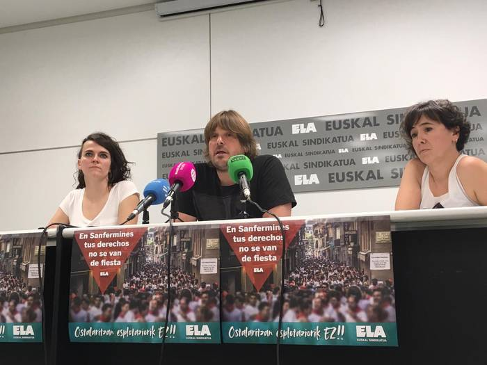 """Sanferminetan ostalaritzan izaten den """"esplotazioa"""" salatu du ELA sindikatuak"""
