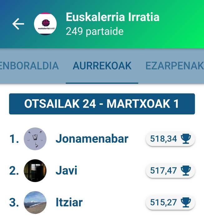 Jonamenabarrek irabazi du Egunean Behin jokoko Euskalerria Irratiko saria